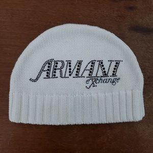 Armani exchange white women's beenie